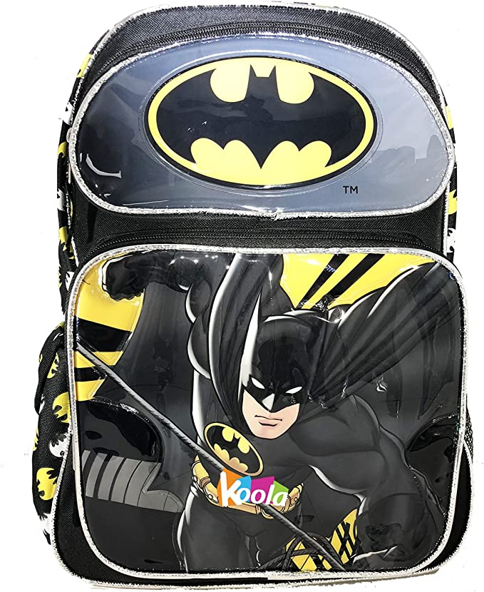 "Batman Backpack 16/"" Large Kid Book Bag NEW"