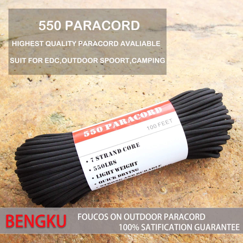 BENGKU Outdoor Survival Mil-SPEC 550lb Paracord/Parachute Cord(MIl-C-5040-H),100Feet,100% Nylon. (Black, 100) by BENGKU (Image #3)
