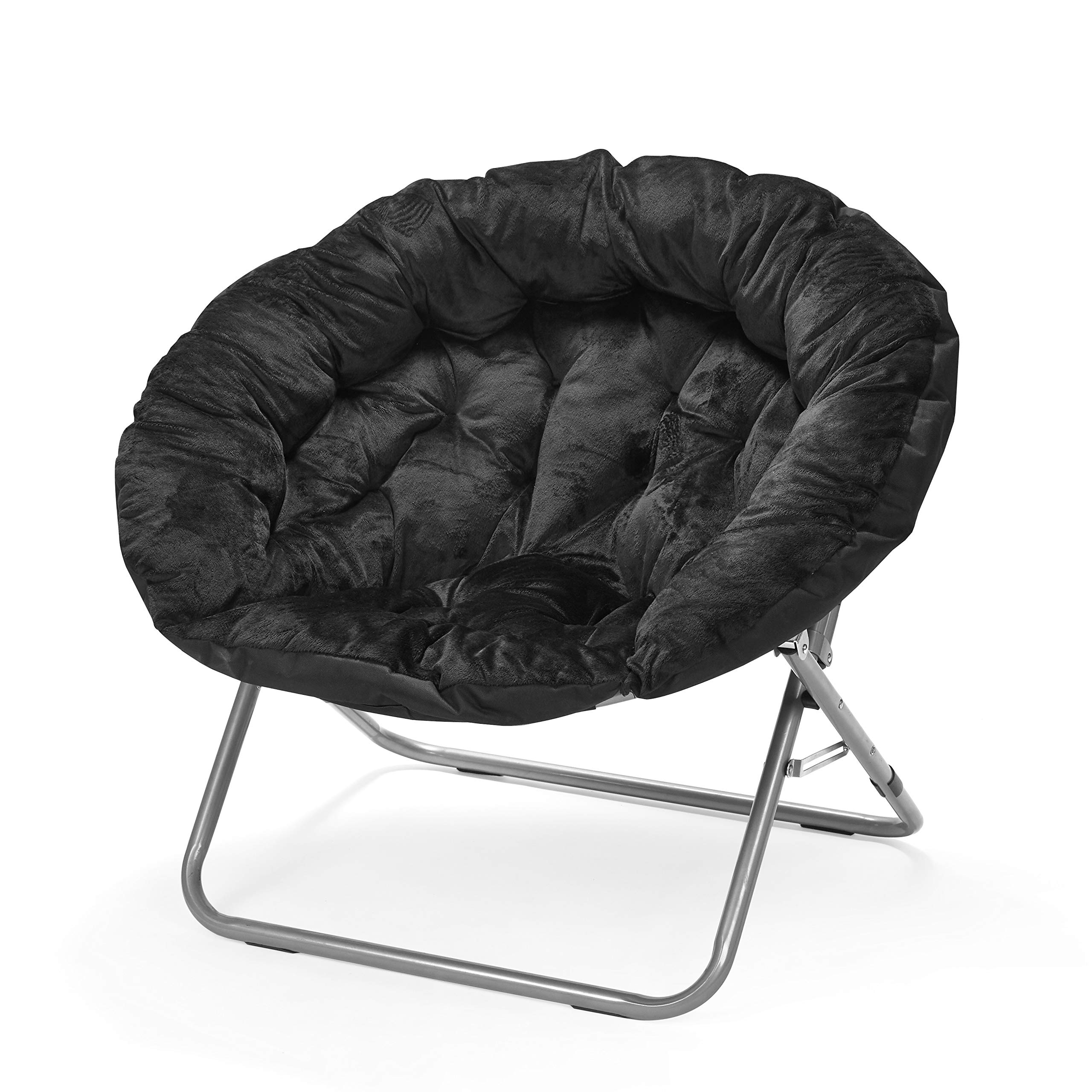 Urban Shop Oversized Micromink Moon Saucer Chair, Black - 37'' L x 30'' W X 30'' D by Urban Shop