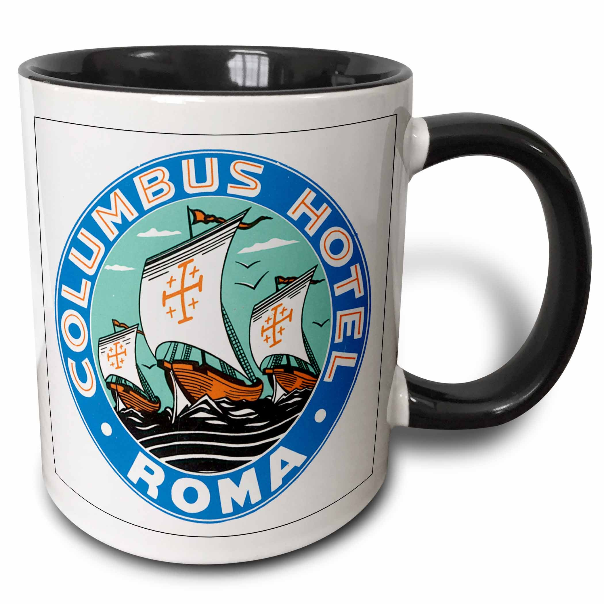 3dRose mug_169848_4 Columbus Hotel Roma with Columbus Sailing Ships Round Label - Two Tone Black Mug, 11oz