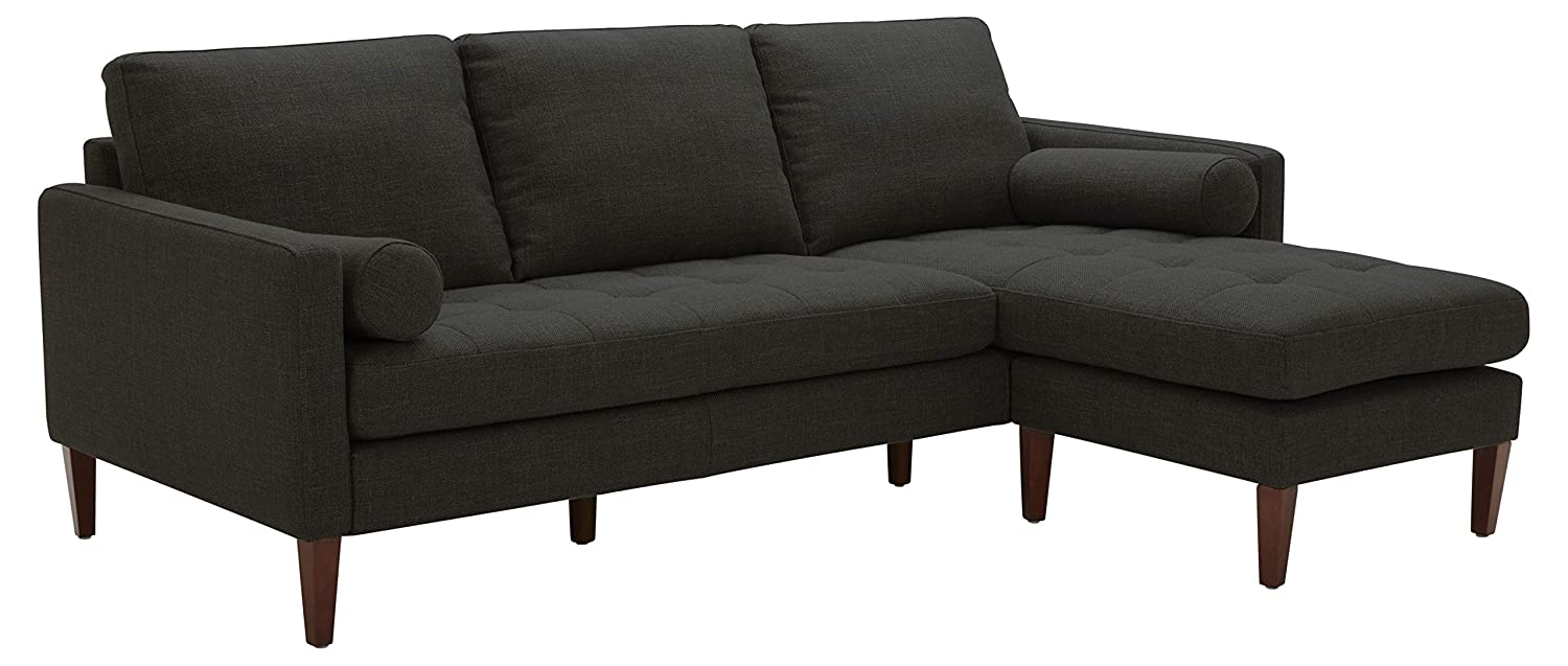 """Rivet Aiden Mid-Century Sectional with Tapered Wood Legs, 86""""W, Dark Grey"""