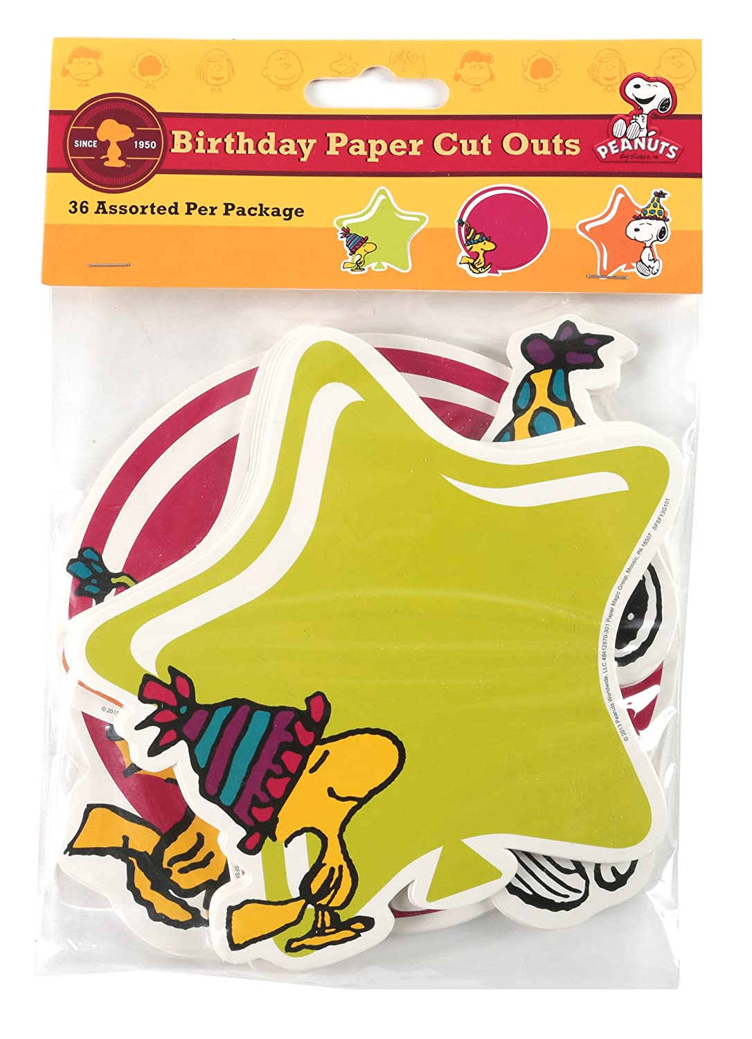 Paper Magic 841267 Eureka Peanuts Birthday Assorted Paper Cut-Outs, 12 Each of 3 Different Designs, 36-Piece Paper Magic Group