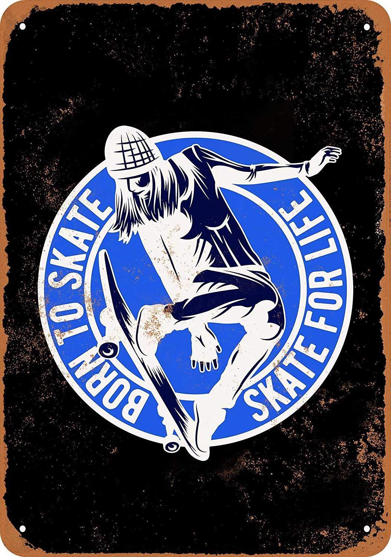 Shunry Born to Skate Skateboard Placa Cartel Vintage Estaño ...