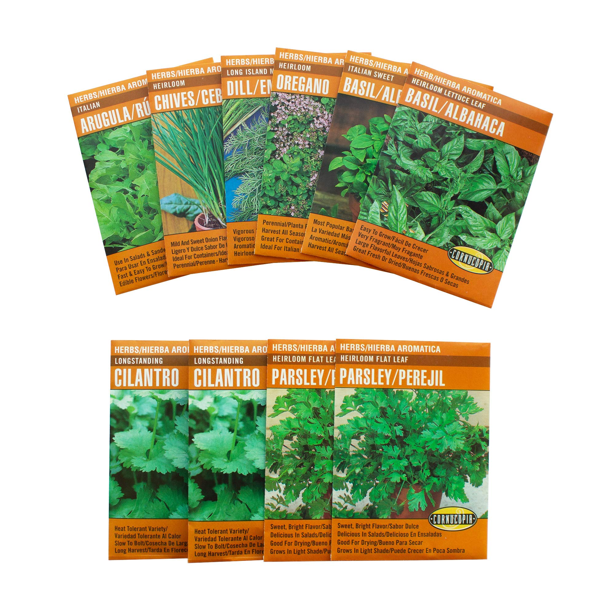 Bilingual Deluxe Culinary Herb Garden Seeds Collection - 10 Seed Packets - Cornucopia English & Spanish Instructions - Arugula, Parsley, Dill, Cilantro, Chives, Basil - Semillas - Español e Inglés by Cornucopia Garden Seeds
