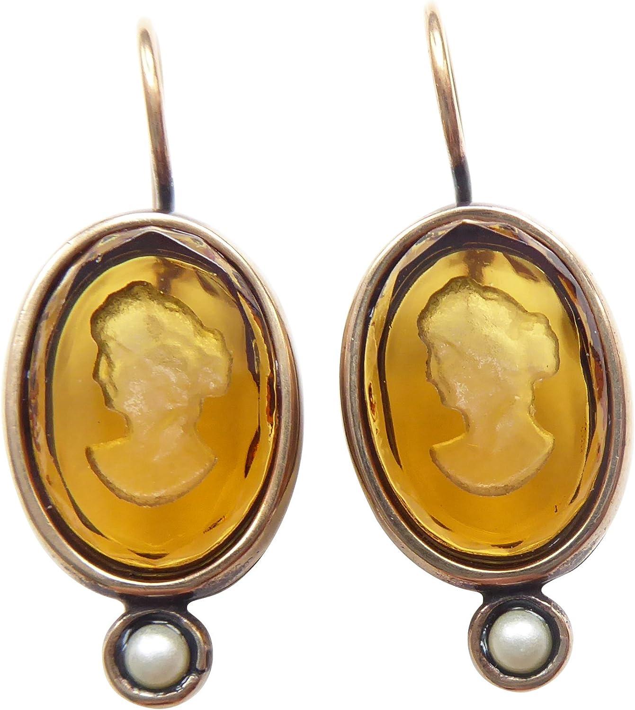 Pendientes de ámbar de color amarillo citrino de color amarillo de moda de cristal Gemme perlas de agua dulce cierre cierre bronce hecho a mano EXTASIA