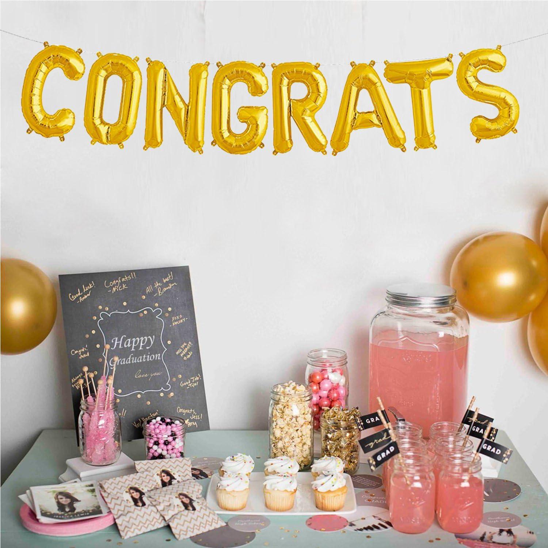 Congratsゴールドバルーンバナー| 2018 Graduation Foil Balloon Decorations |マイラーのバルーン誕生日、プロモーション、記念日、結婚|大サイズ、17インチ