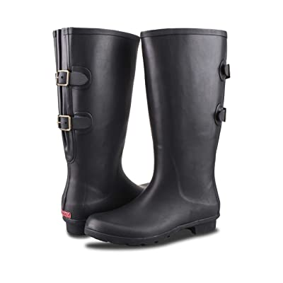 RAHATA Rubber Wide Calf Rain Boot for Women with Two Adjustable Buckles | Rain Footwear