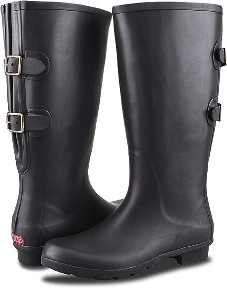 RAHATA Rubber Wide Calf Rain Boot