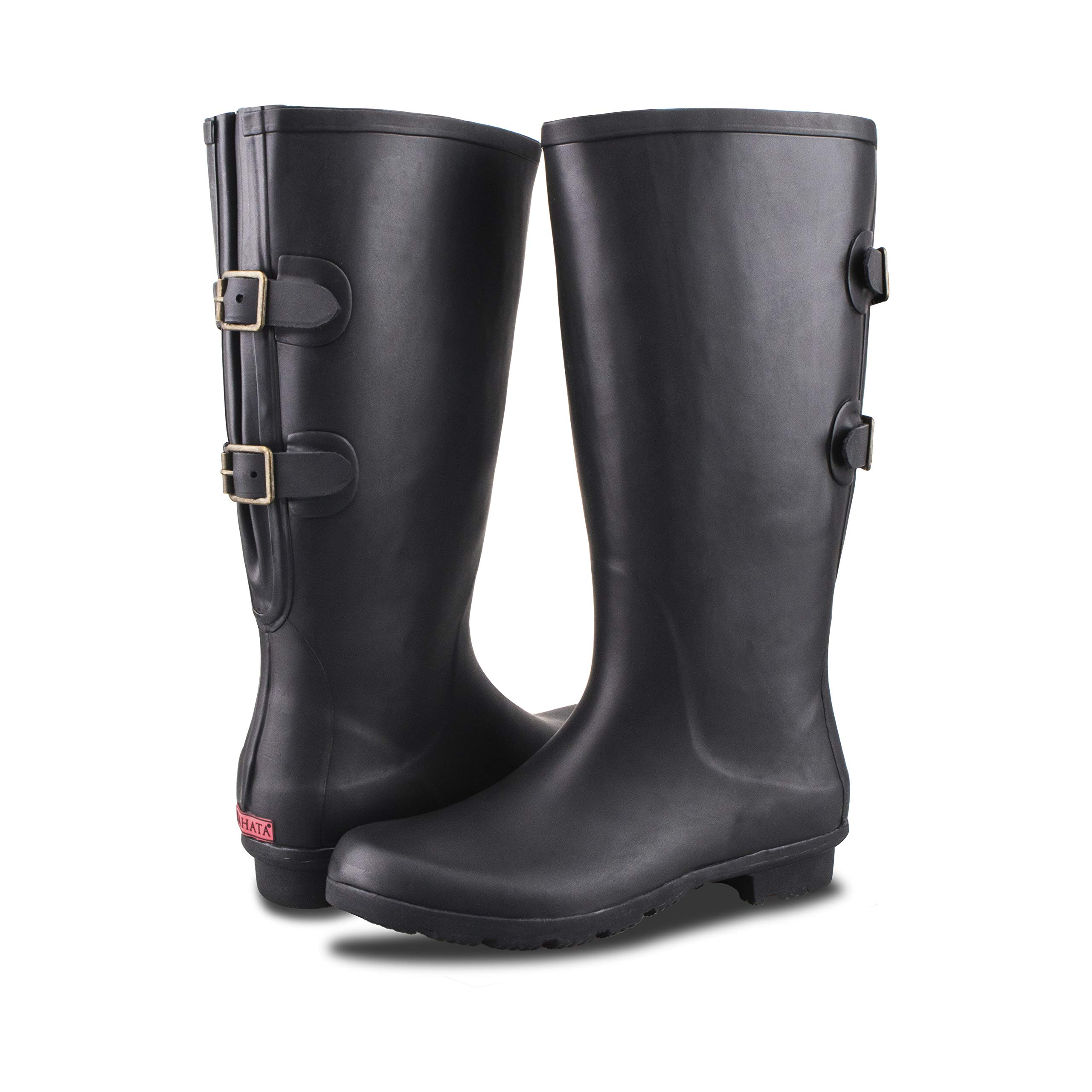 RAHATA Rubber Wide Calf Rain Boot for Women with Two Adjustable Buckles (9 B(M) Women, Black) by RAHATA