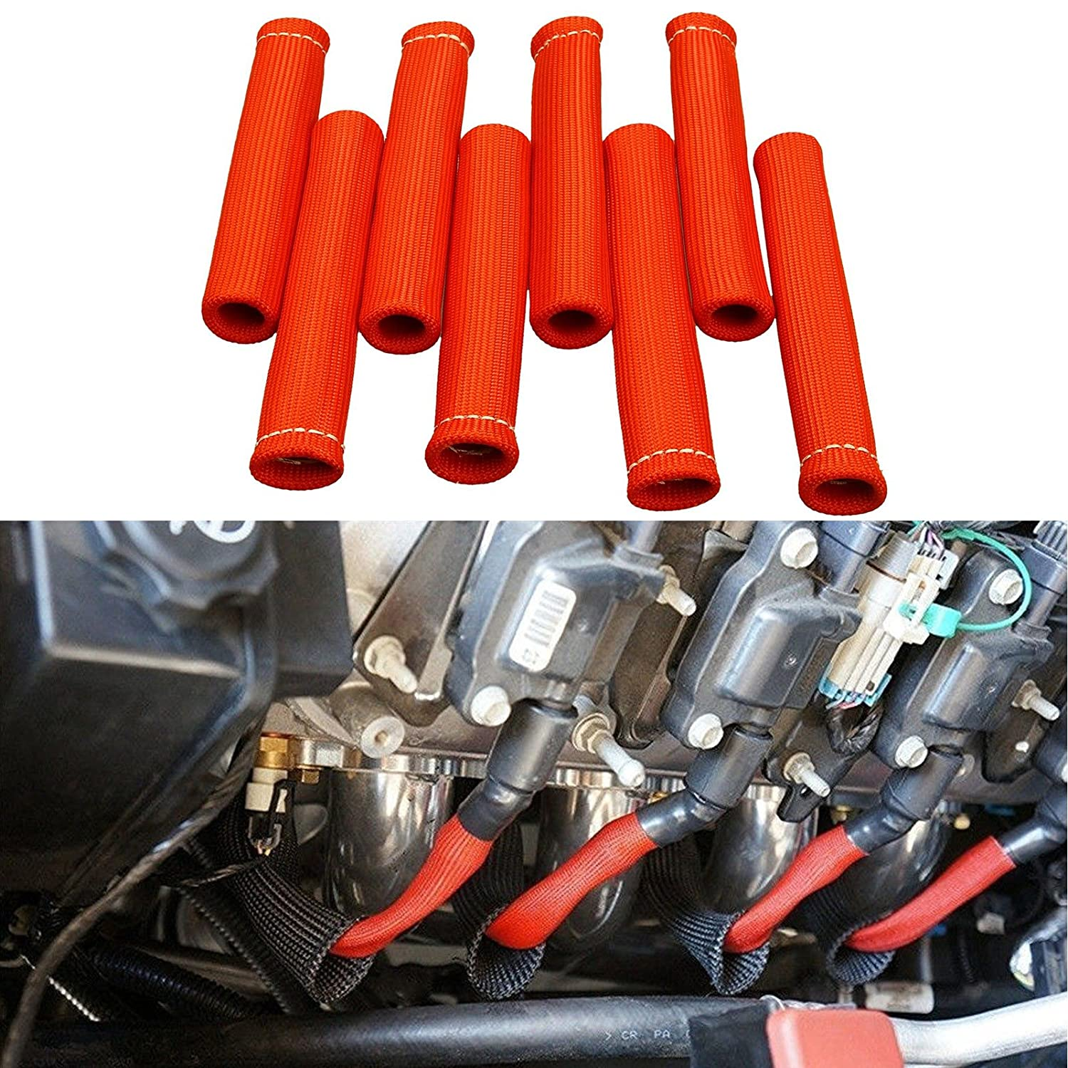 yjracing Red 8Pcs 1200 Degree Spark Plug Wire Boots Heat Shield Protector Sleeve Fit for SBC BBC