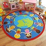 Superb Bright Kids/Childs Rug Children of The World Globe Large Round 2.0m x 2.0m (6'6 x 6'6 approx)