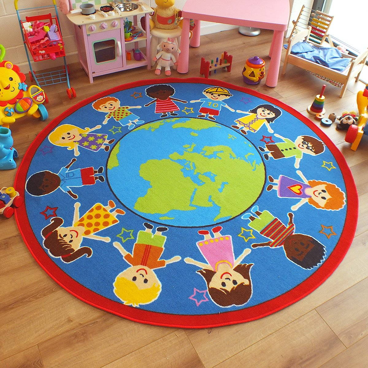 Superb Bright Kids Childs Rug Children Of The World Globe Large