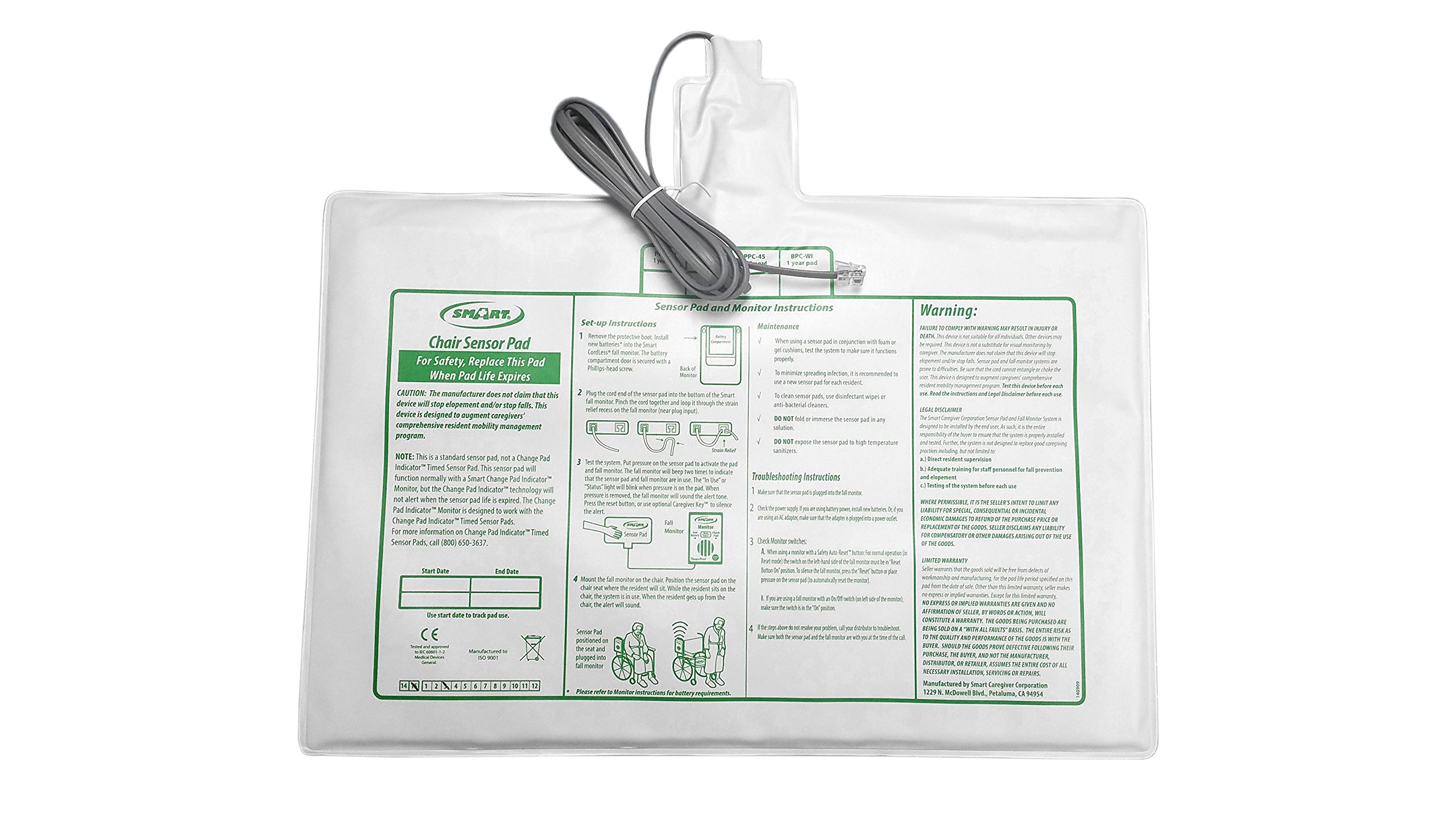 Replacement 10in x 15in Chair Sensor Pad by Smart Caregiver