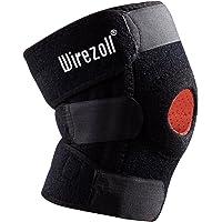 Ginocchiera sport Wirezoll, in tessuto traspirante, ortesi per ginocchio regolabile con fasce di guida delle articolazioni in cotone, per pallavolo, pallamano, colore nero