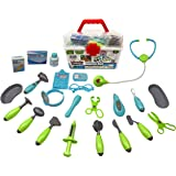 Family Doctor Medical Kit Playset for Kids-24 Pieces Pretend Play Tools Toy Set