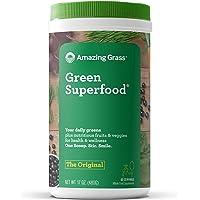 Amazing Grass Green Superfood: Organic Wheat Grass and 7 Super Greens Powder, 2 servings of Fruits & Veggies per scoop, Original Flavor, 60 Servings