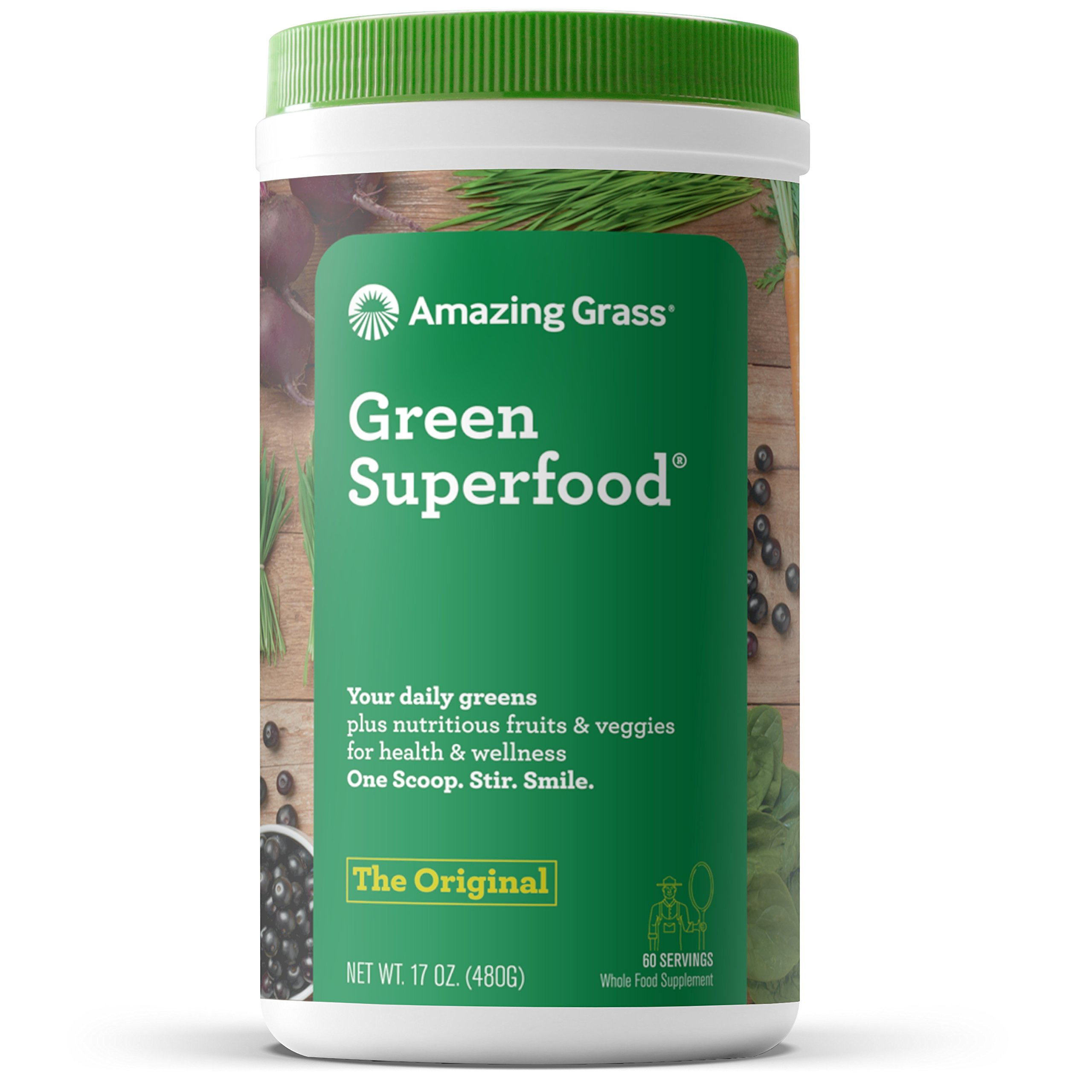 Amazing Grass Green Superfood: Organic Wheat Grass and 7 Super Greens Powder, 2 servings of Fruits & Veggies per scoop, Original Flavor, 60 Servings by Amazing Grass