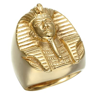 Eamaott Egyptian Pharaoh Gold Stainless Steel Personalized Biker