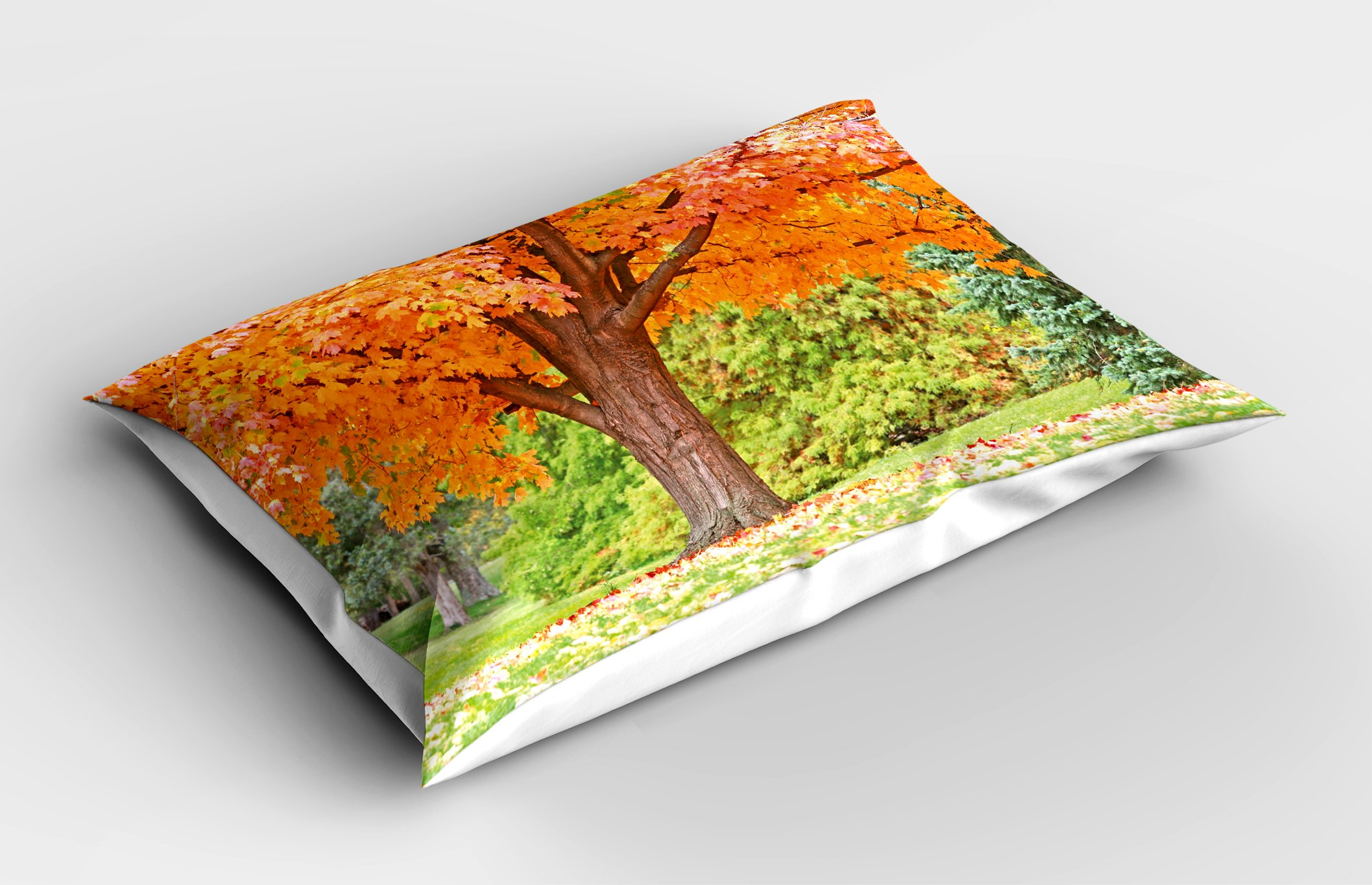 Lunarable Nature Pillow Sham, Vibrant Tree Forest Autumn Season Fall in Woods Scenic Scenery Landscape, Decorative Standard King Size Printed Pillowcase, 36 X 20 inches, Orange Green Brown by Lunarable (Image #2)