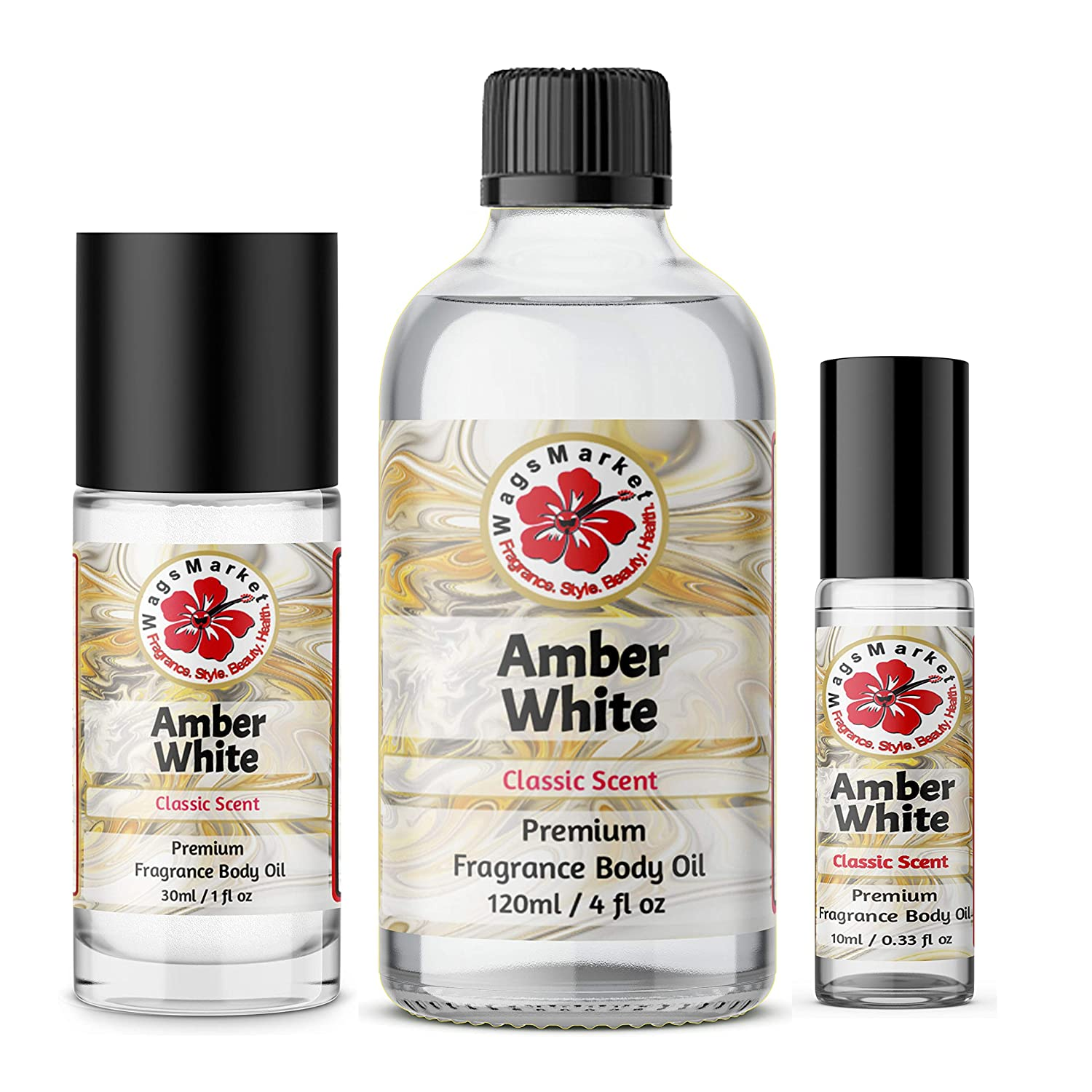 WagsMarket - Amber White Perfume Oil, Choose from 0.33 oz Roll On to 4 oz Glass Bottle, (0.33oz Roll On)