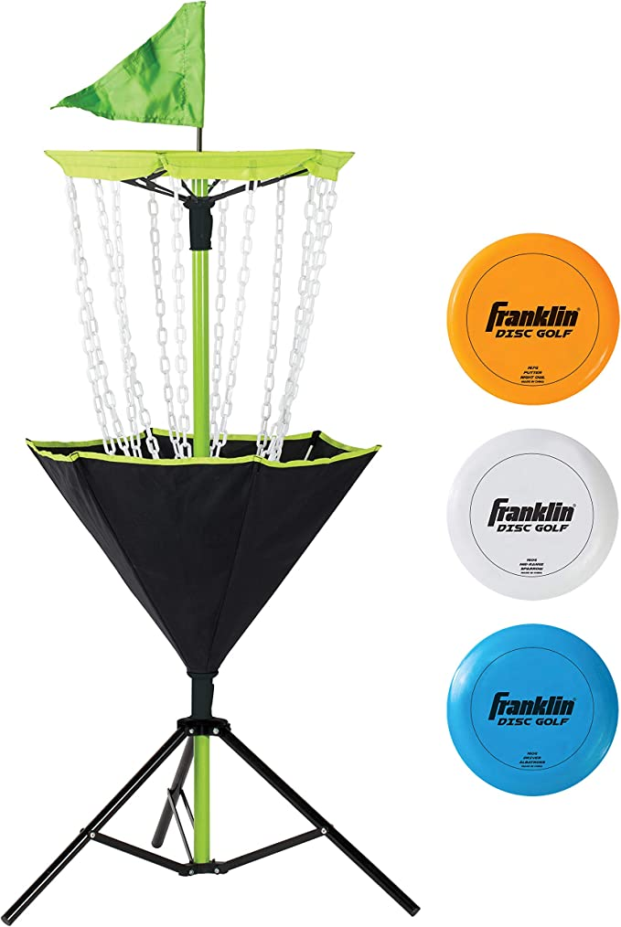 Franklin Sports Disc Golf Set – Disc Golf – Includes Disc Golf Basket, Three Golf Discs and Carrying Bag best disc golf sets