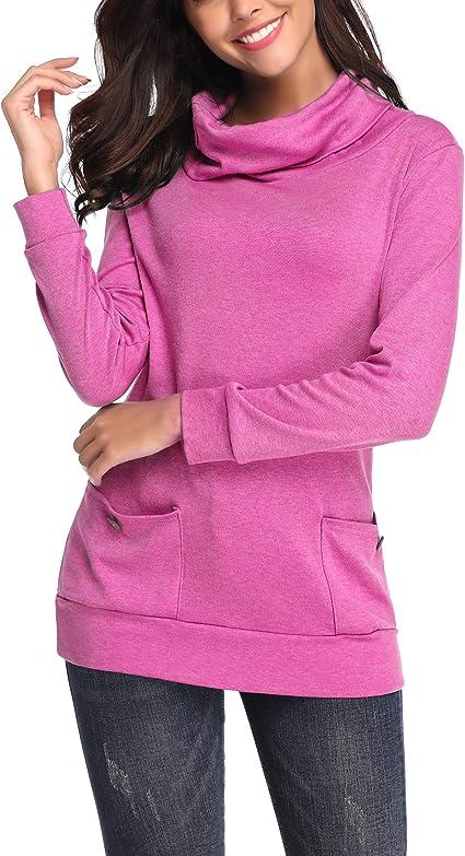 kefirlily Mujer Sudadera con Bolsillo de Cuello Alto con Botones de Algodón Camisa de Manga Larga: Amazon.es: Ropa y accesorios