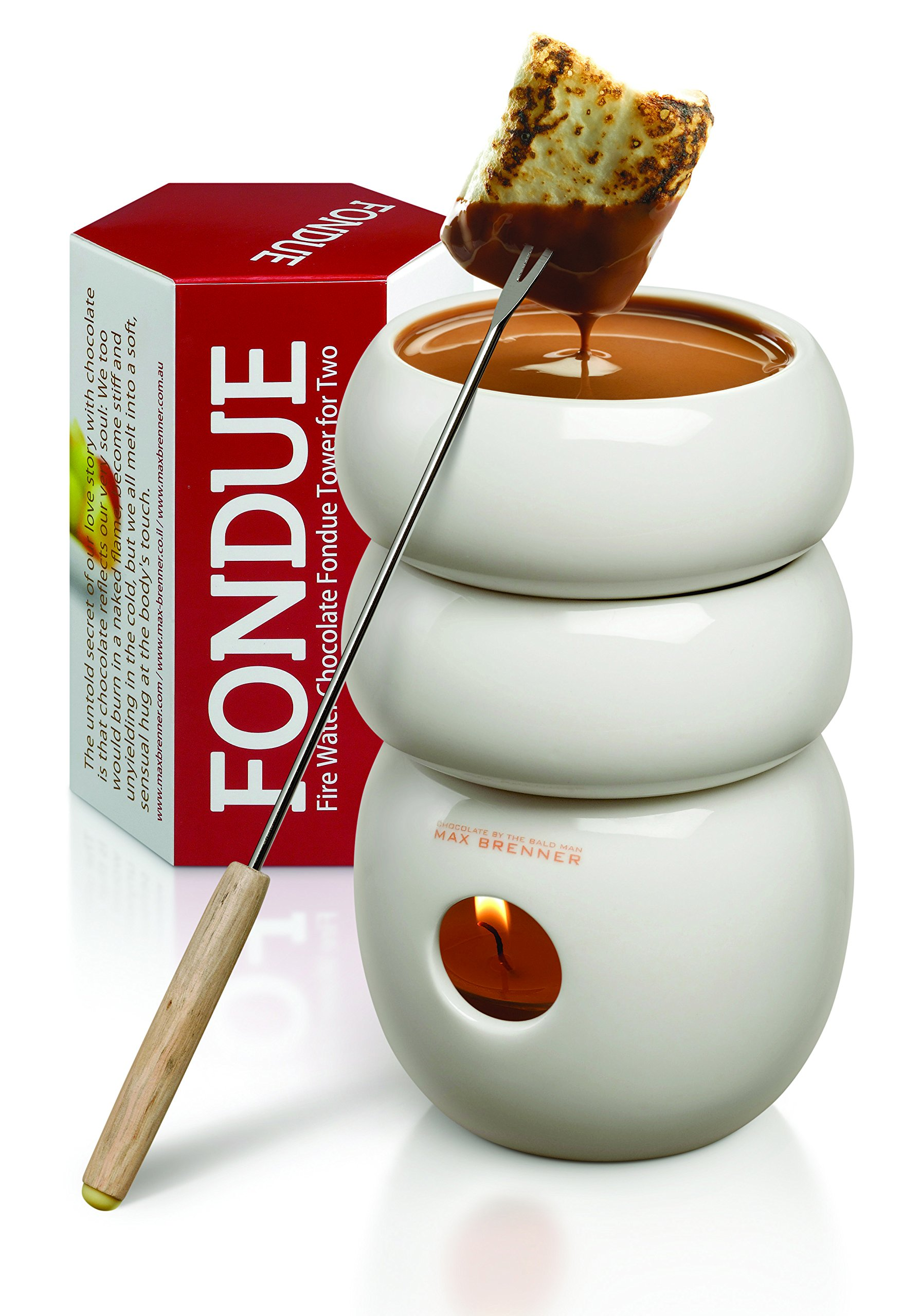 Fire Water Chocolate Fondue Tower for Two: White Ceramic 3 Ounce Double-Decker Mini Pot Boiler and Candle Holder Melter with 2 Forks by Max Brenner