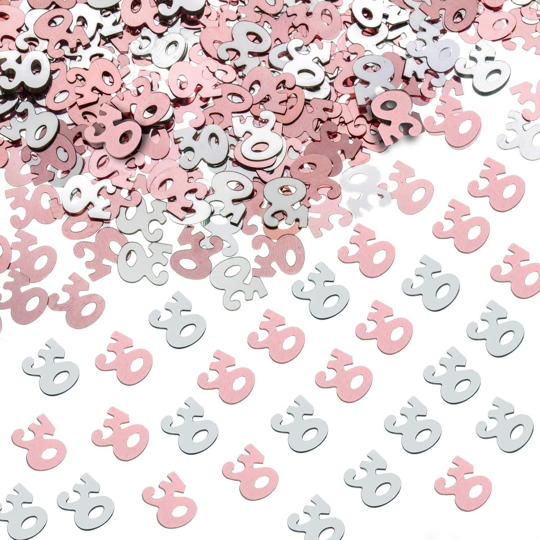 Shappy Confeti Brillante de Número 30 para Trigésimo Cumpleaños Fiesta de Aniversario Decoración de Mesa, 1,76 Onzas (Dorado Rosado y Plateado)