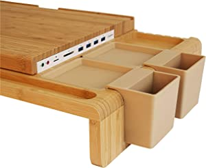 LAY10A Real Wood All-in-one Monitor Laptop Stand Riser with Multifunctional Storage 2set