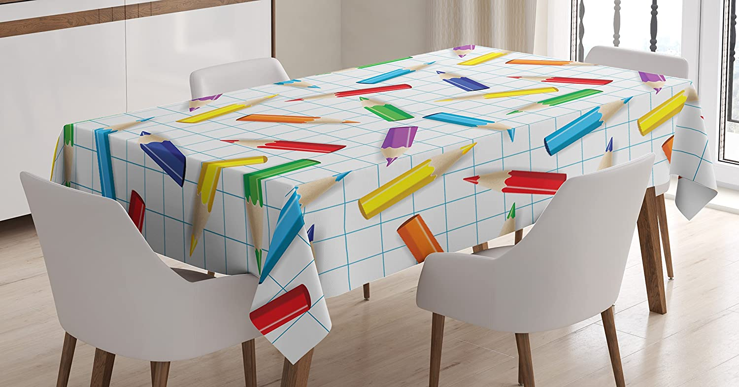 Ambesonne Children Tablecloth by, Colorful Pencils on Checkered Board Kids School Education Creativity Art Image, Dining Room Kitchen Rectangular Table Cover, 52W X 70L Inches, Multicolor
