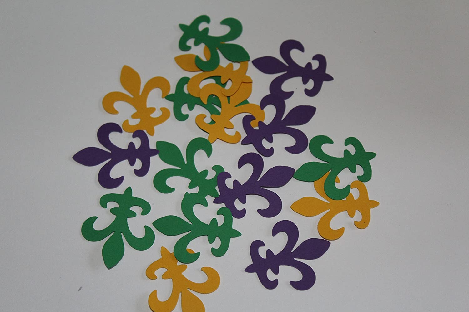100 Fleur de lis mardi gras yellow, purple, green die cuts, confetti,party supplies, table decorations 818vvBksIpL