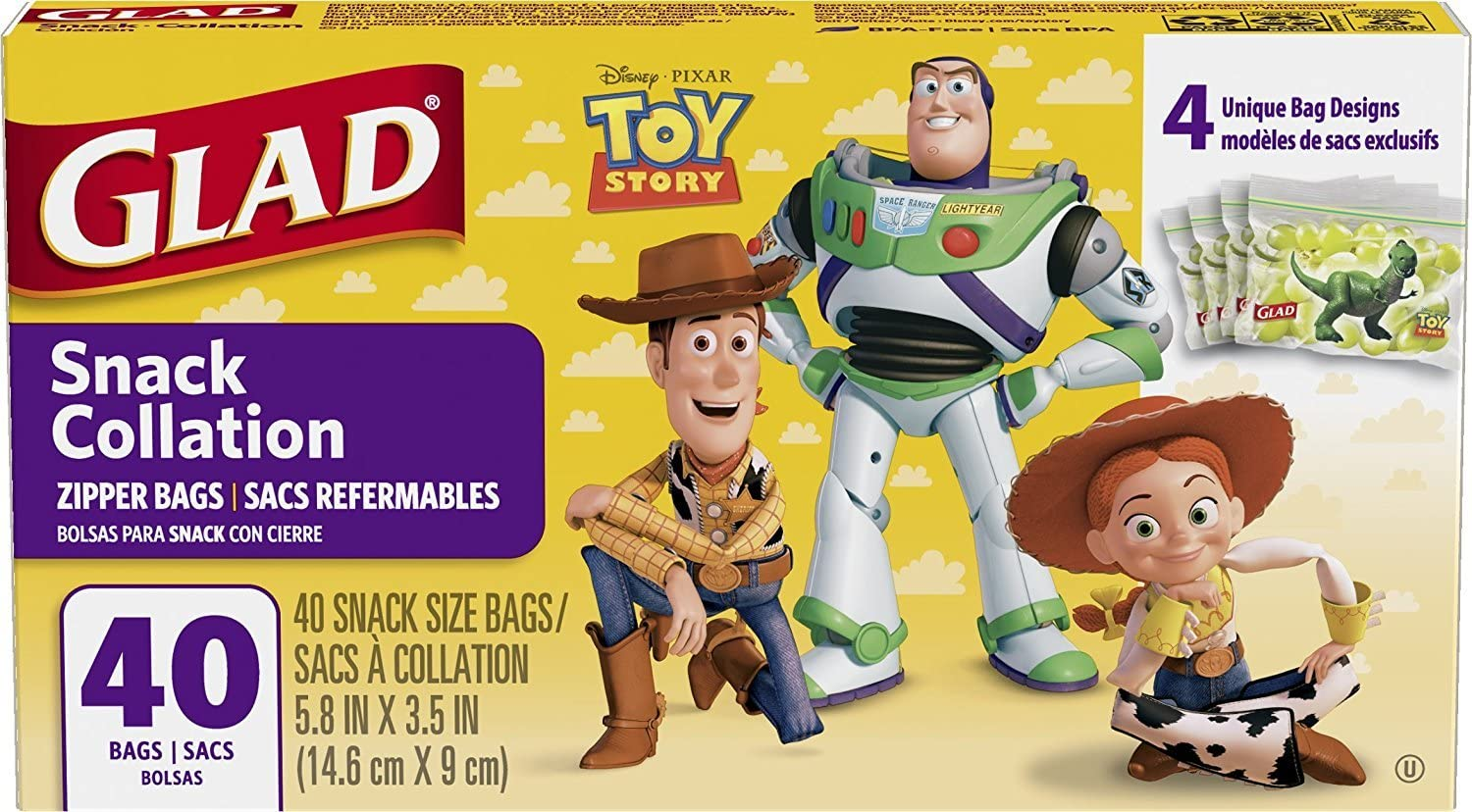 2 Pk. Glad Food Storage Bags, Snack Size Zipper Bags, Toy Story, 40 Count (80 Bags Total)