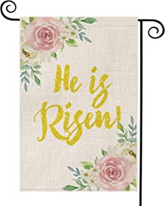 AVOIN He is Risen Garden Flag Vertical Double Sided Spring Flowers, Easter Yard Outdoor Decoration 12.5 x 18 Inch