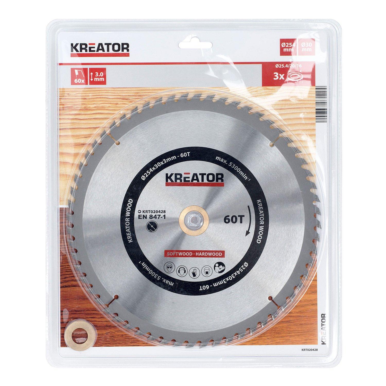 krt020428Scie circulaire métal dur pour bois Ø254mm alésage 30mm Épaisseur 3mm dents 60Scie à bois feuilles + 3bagues VARO