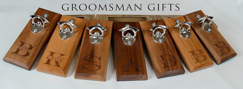 Bottle Opener Magnetic Cap Catcher – Handmade Walnut Wood with Personalized Family Name – Groomsman or Groomsmen Wedding