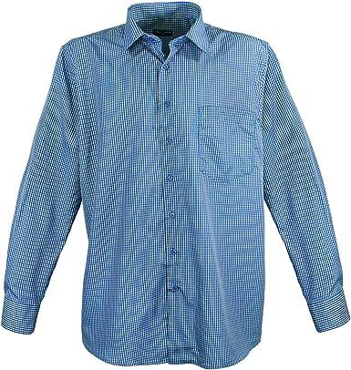 Tamaño grande. Schickes LA17-07 - Camisa para hombre, diseño de cuadros, color azul: Amazon.es: Ropa y accesorios