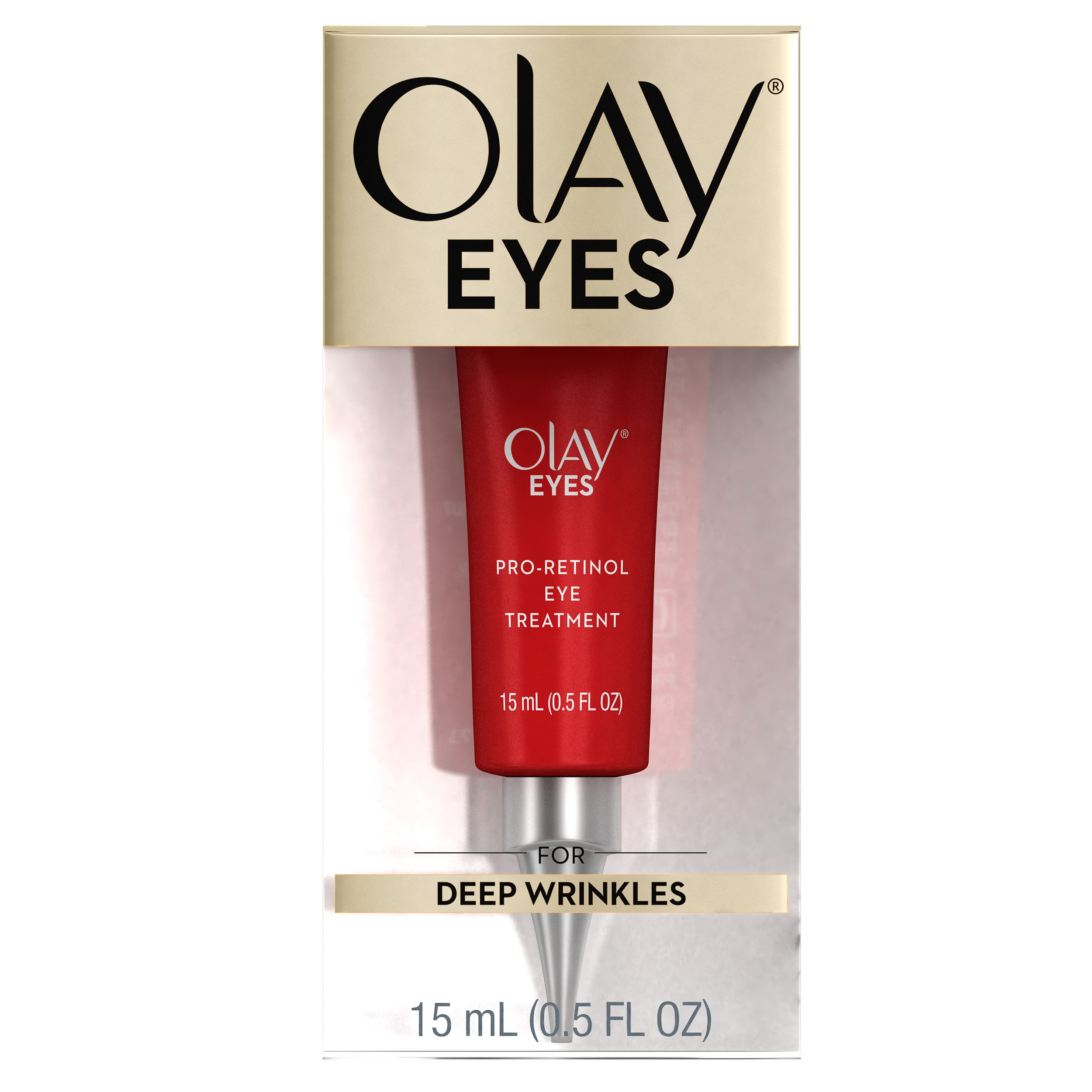 Olay Eyes Pro-Retinol Eye Cream Treatment to Reduce the look of Deep Wrinkles and Reflect Visibly Smoother, Younger-Looking Eyes, 0.5 Fl Oz  Packaging may Vary