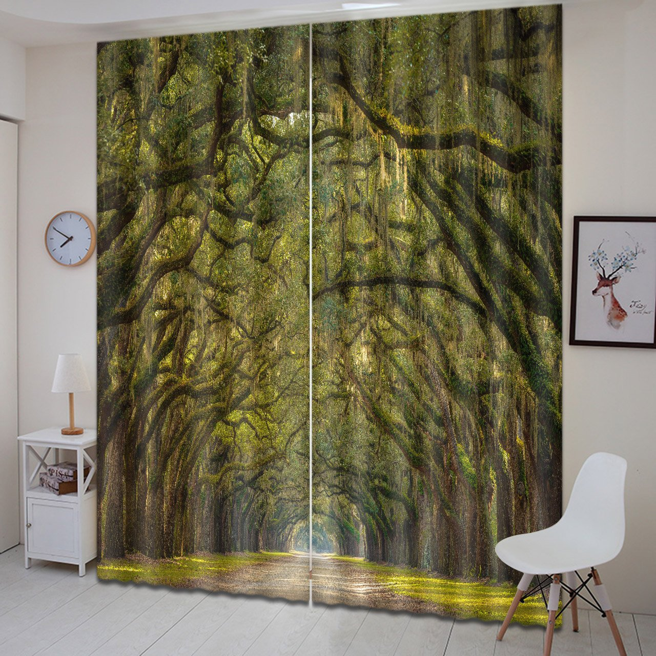 LB Teen Kids Room Decor Forest Scenery Curtains,Green Tree Gallery 3D  Effect Print Window Treatment Living Room Bedroom Window Curtains 2 Panels  Set,60W x ...
