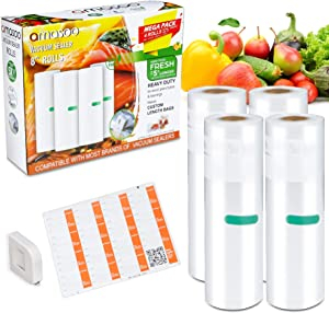 COMBO PACK (4Rolls)   8''x25' - AMASOO Vacuum Sealer Bags Rolls for Food, Food Saver Vacuum Seal Bags   Cutter & Food labels   100ft, BPA-Free, Heavy Duty   Sous Vide, Vac Storage, Meal Prep