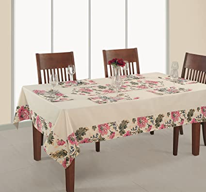 ShalinIndia Ivory And Pink Floral Table Linens Set For 4 Seater Square  Tables With 60u0026quot;