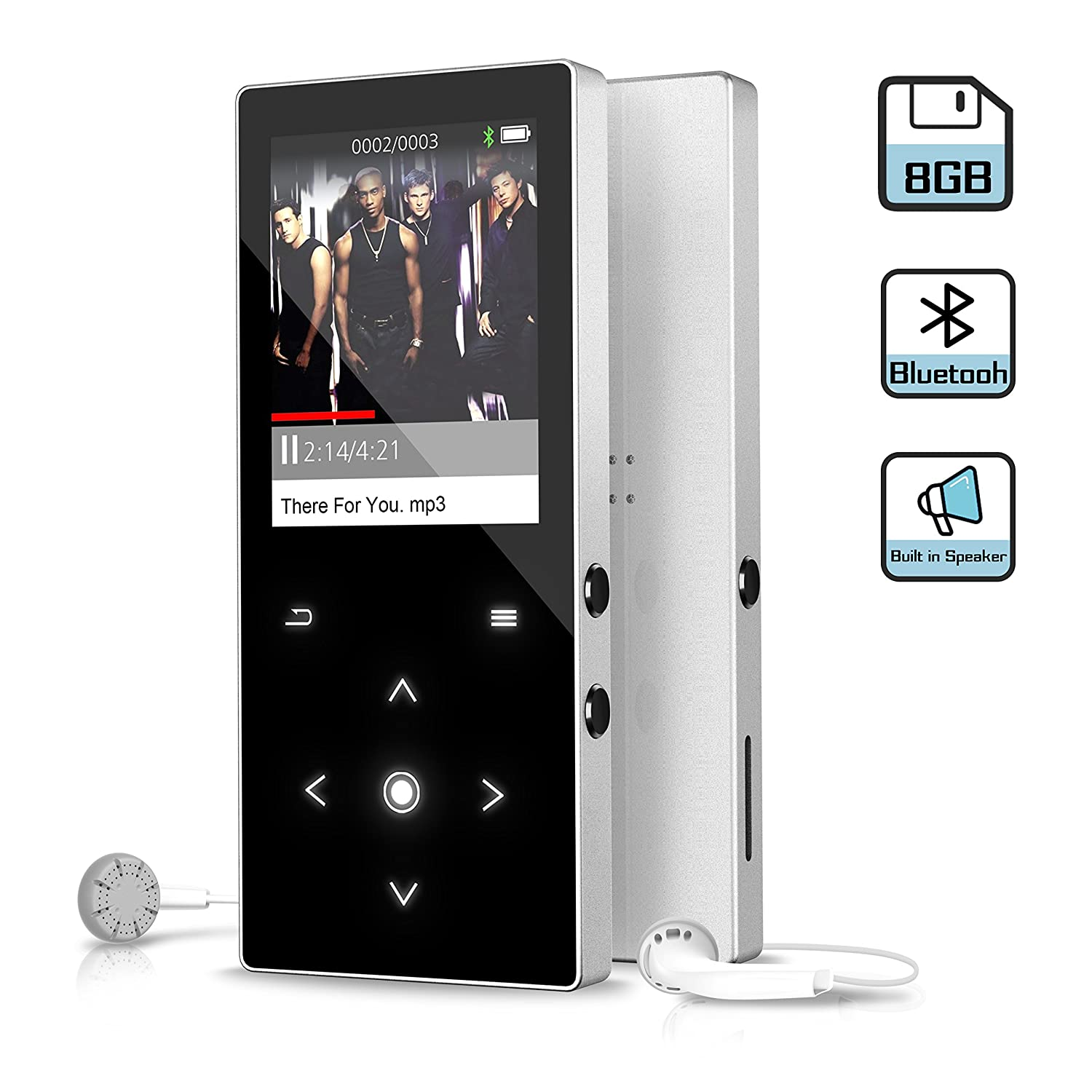 8GB MP3 Music Player with Bluetooth 4.0, 2018 Upgraded Dansrue Portable Digital Music Audio Player with FM Radio Speaker, HD Sound Quality Earphones, Metal Shell Touch buttons Expandable Up to 64GB