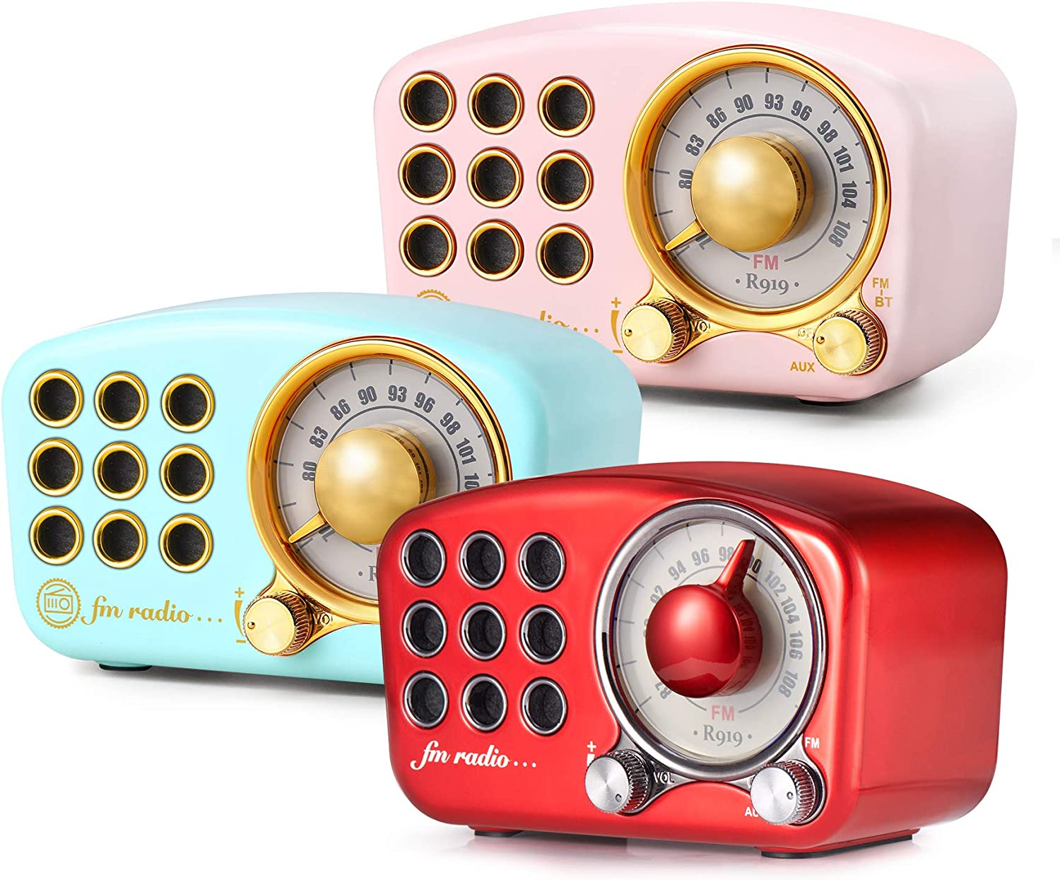 Retro Bluetooth Speaker, Vintage Radio-Greadio FM Radio with Old Fashioned Classic Style,Strong Bass Enhancement,Loud Volume,Bluetooth 4.2 Wireless Connection,TF Card and MP3 Player (Blue+Pink+Red)