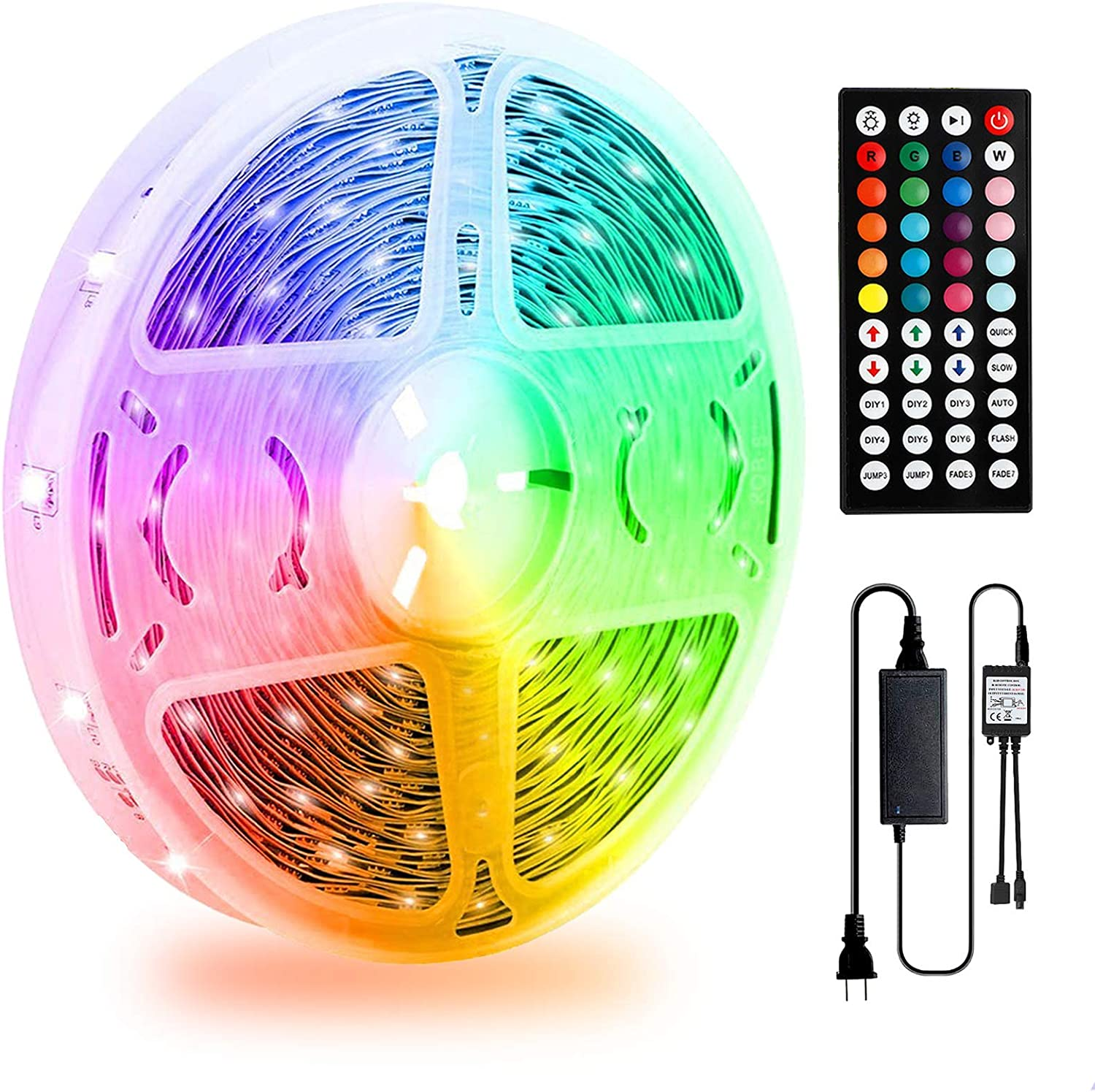 LED Strip Lights 32.8ft, Color Changing Strip Lights with 44 Key IR Remote, SMD 5050 RGB LED Strips with 12V Power Supply, Flexible LED Tape Lights for Bedroom Home Bar Party Christmas DIY Decoration