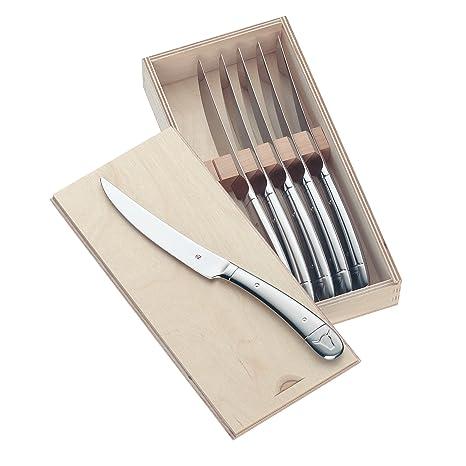 WMF Steak Juego 6 Cuchillos para Carne, Madera, Acero Inoxidable Pulido, 6 Piezas