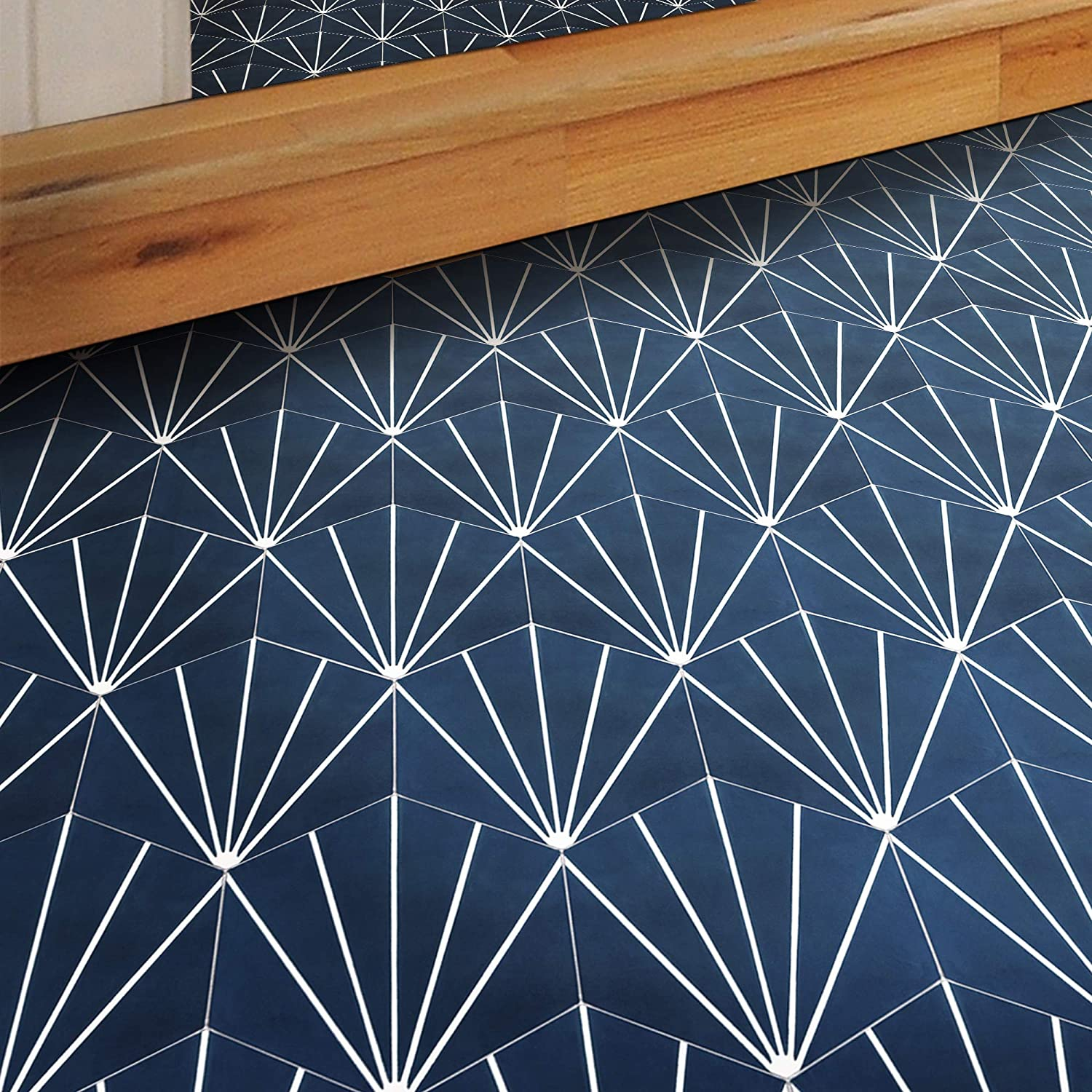 Moroccan Mosaic /& Tile House CTP72-06 Menara Handmade Cement Tile 8x9 Navy Blue and White
