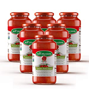 Tomato and Basil Classic Pasta Sauce La San Marzano 100% Product of Italy 24 Ounce Jars - 100% Genuine Ingredients With San Marzano Tomatoes (Pack of 6)