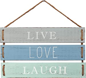 "Barnyard Designs Live Love Laugh Quote Wall Decor, Decorative Wood Plank Hanging Sign 17"" x 9.75"