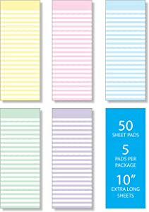 """Memo Note Pads, Pack of Five Beautiful Pastel Candy Stripes Design, 3.5"""" x 10"""" with 50 Tear Off sheets Per Pad"""