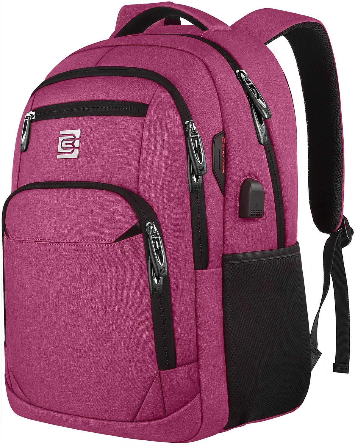 Laptop Backpack,Business Travel Anti Theft Slim Durable Laptops Backpack with USB Charging Port,Water Resistant College Computer Bag for Women & Men Fits 15.6 Inch Laptop-Rose Red by Volher