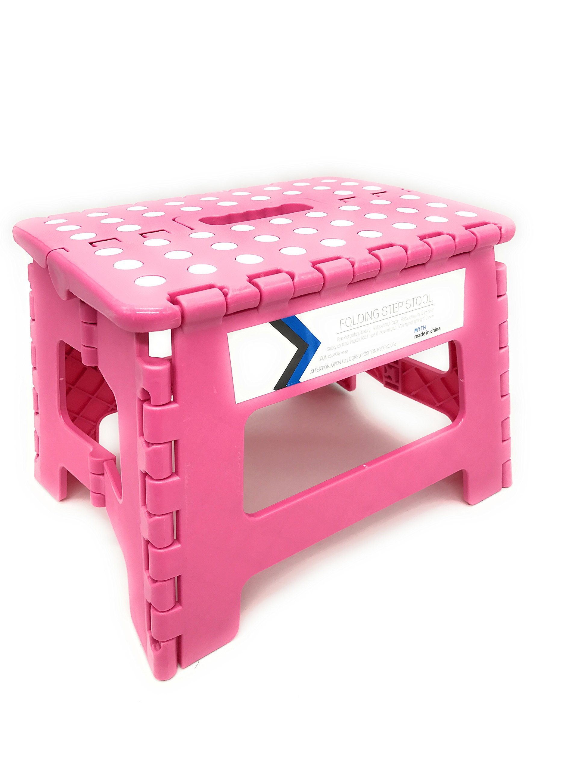 Folding Step Stool 9 Inches Height by Myth with Anti-Slip SurfaceGreat for Kitchen, Bathroom, Bedroom, Kids or Adults Super Strong Holds Up to 300 LBS (pink)